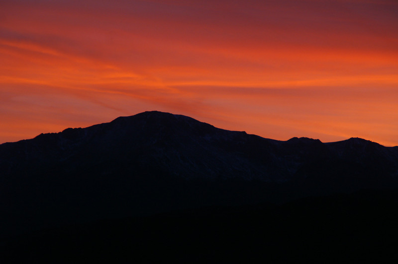 A beautiful sunset over Pikes Peak tonight 10-28-10.