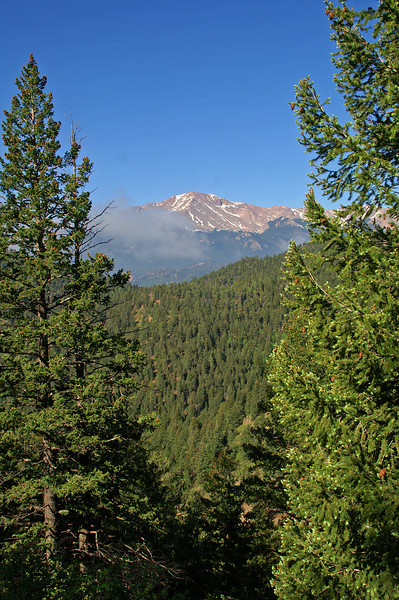 Pikes Peak as seen from Pike National Forest.