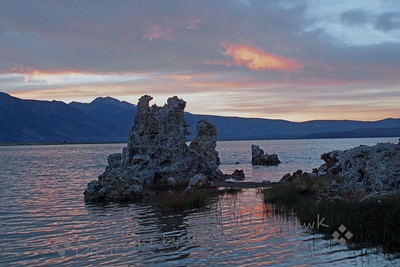 Mono Lake Sunset ~ Tufa towers stand in rippled sunset waters.
