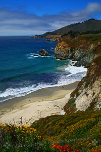 California Coast ~ Driving up the famous Highway 1, below Big Sur, the fog had finally lifted, showing the amazing turquoise blues of the sea, and the beautiful rocky shoreline.  A photo stop was required!