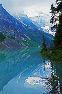 Lake Louise View ~ Beautiful Lake Louise, reflecting the slopes and mountain peaks.