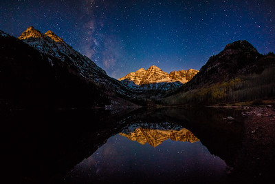 Moonrise Alpenglow Moonrise at the Maroon bells Wilderness near Aspen Colorado