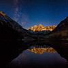 "<font size=""5"" font="""" face=""trajan pro, Copperplate Gothic Bold""><b>Moonrise Alpenglow</b></font> <font face=""trajan pro"">Moonrise at the Maroon bells Wilderness near Aspen Colorado</font>"