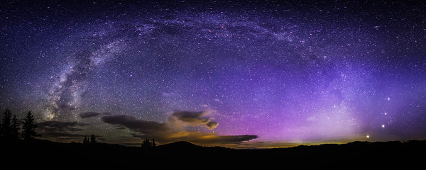 "<font size=""5"" font="""" face=""trajan pro, Copperplate Gothic Bold""><b>Full Milkyway Arc</b></font> <font face=""trajan pro"">Full Milkyway arc over aspen colorado landing in the cluster of the Moon, Jupiter, Venus and the Pleiades cluster with faint auroras</font>"