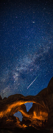 "<font size=""5"" font="""" face=""trajan pro, Copperplate Gothic Bold""><b>Double Arch Meteor</b></font> <font face=""trajan pro"">Double Arch in Arches National Park during the Perseid Meteor Shower. The arches were lit with a flashlight in a separate exposure after i saw the meteor streak across the sky.</font>"