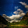 "<font size=""5"" font="""" face=""trajan pro, Copperplate Gothic Bold""><b>Moonlit Maroon Bells</b></font> <font face=""trajan pro"">The Maroon Bells under a full Moon near Aspen Colorado</font>"