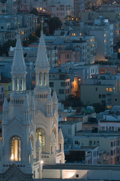 A view of Saints Peter and Paul Church from Coit Tower