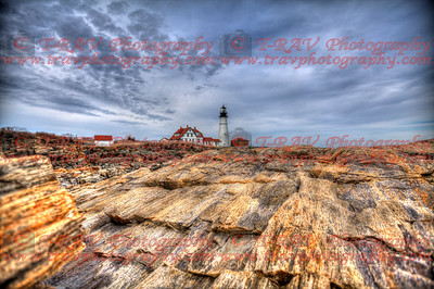 Lighthouse over Striated Rock