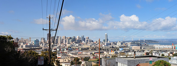 San Francisco Skyline From Potrero Hill - Carolina & 20th  3 shot panorama - 50 1.4G @ F8, and 1/800  (C) 2009 Brian Neal