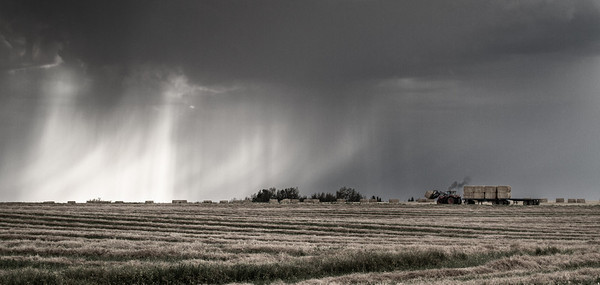B&W Version. Bringing in the hay before a storm hits. HWY 27, west of Torrington, Sunday September 9, 2012.