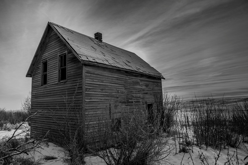 Abandoned Farm House in Winter.
