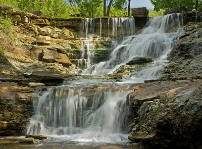 Waterfall (closer view) at Chase Co. Fishing Lake, near Cottonwood Falls, Kansas