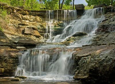 Waterfall (closer view) at Chase Co. Fishing Lake, near Cottonwood Falls, Kansas