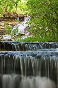 Lower cascades of waterfall at Chase Co. Fishing Lake, near Cottonwood Falls, Kansas