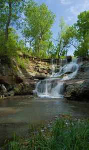 Waterfall at Chase Co. Fishing Lake, near Cottonwood Falls, Kansas