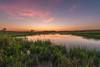 Prairie pothole at twilight
