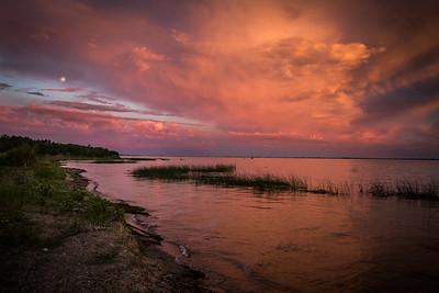 Jackfish Lake Sunset with full moon