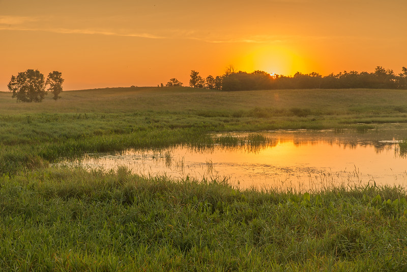 Sunrise at a prairie pothole