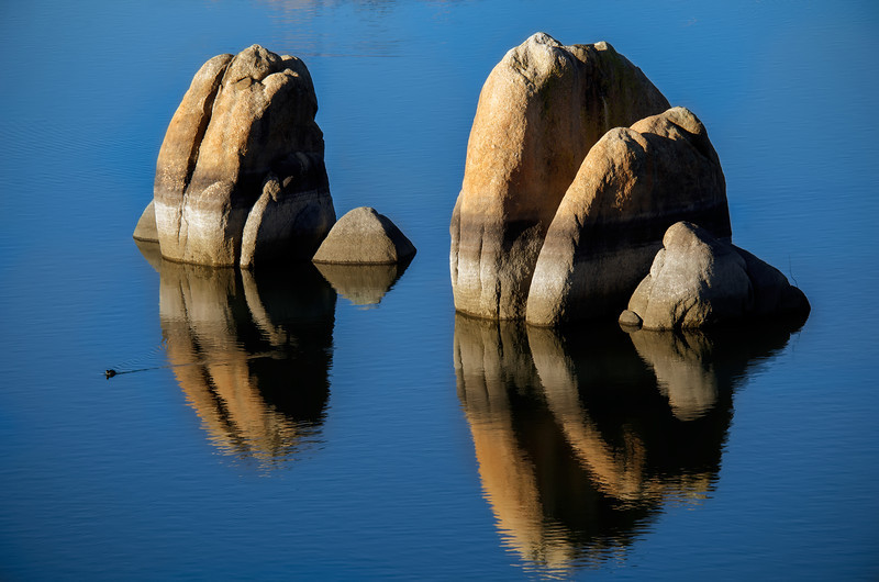 Tranquil Rock in the middle of Watson Lake, Prescott