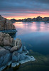 Sunrise reflection at Watson Lake in Prescott