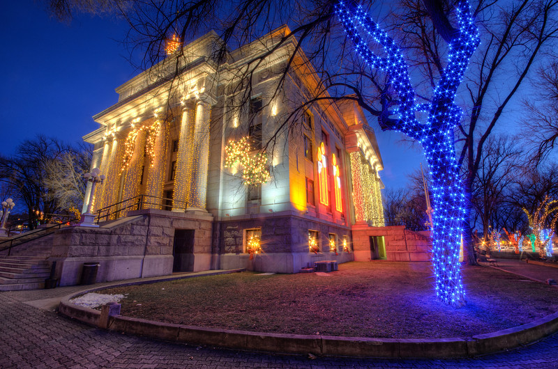 Blue Christmas Lights at Courthouse in Prescott at Twilight