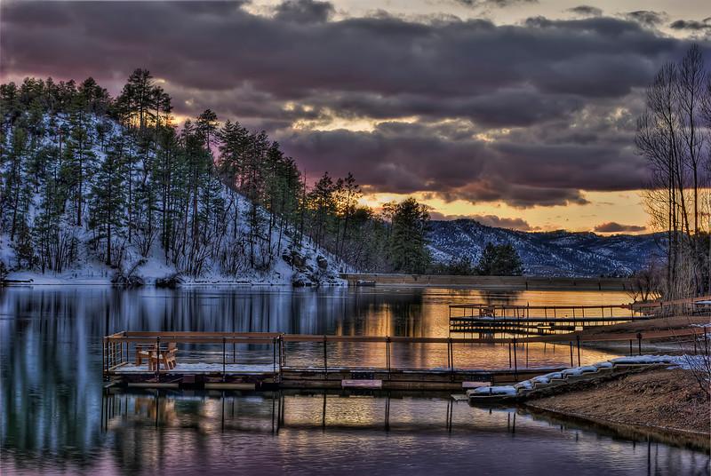 Winter sunset at Goldwater Lake, Prescott, AZ