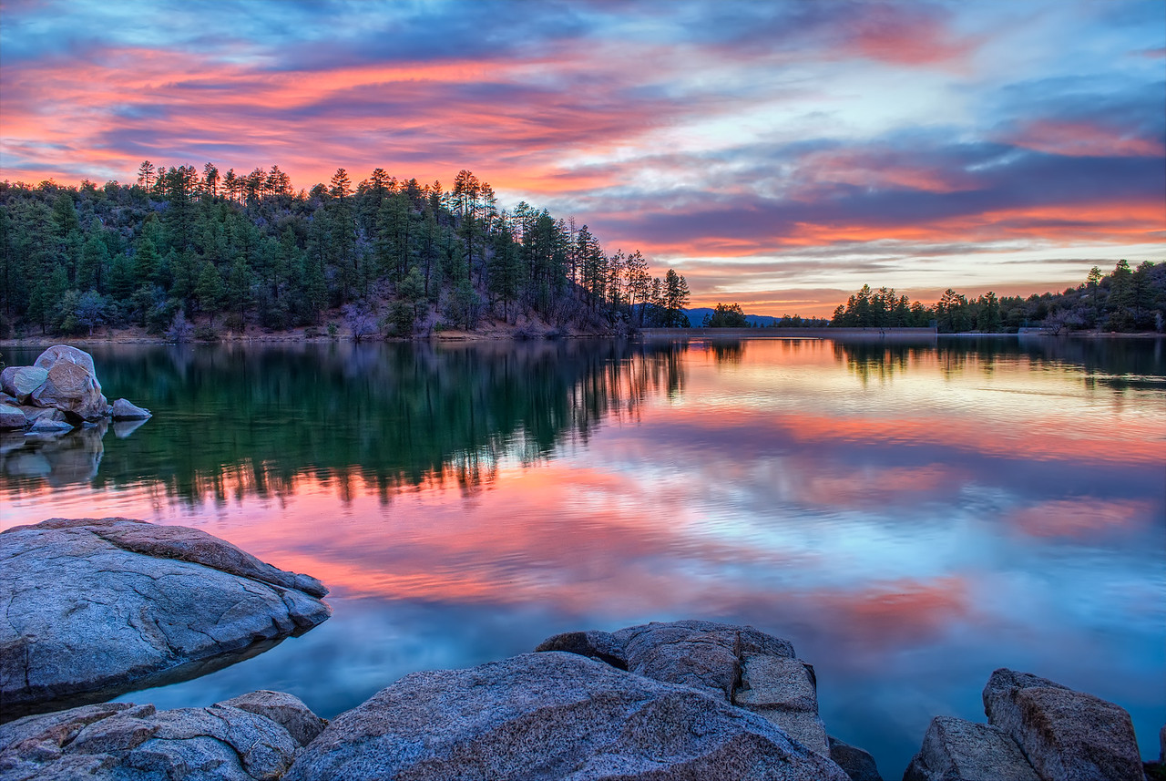Sunset at Goldwater Lake in Prescott, AZ