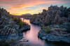 After sunset at Watson Lake in Prescott, AZ - One of the most photographed locations on the back side of Watson Lake, along the Peavine Trail.