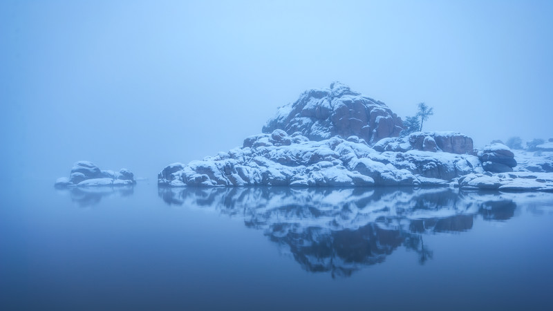 Blue Foggy Winter morning at Watson Lake in Prescott