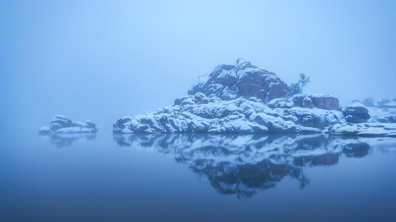 Blue Foggy Winter morning at Watson Lake in Prescott