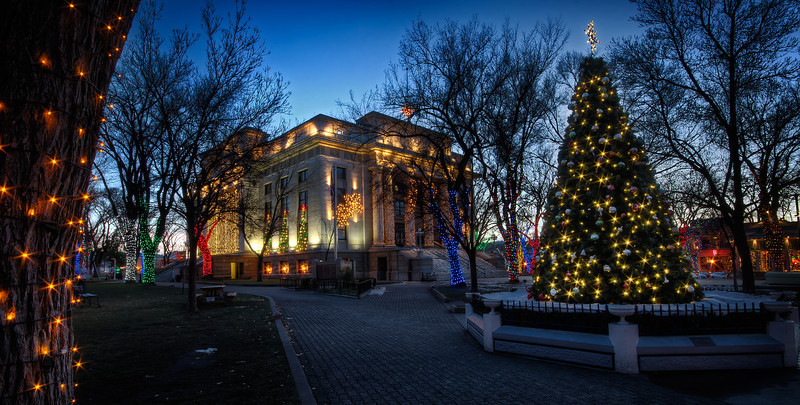 Christmas Lights and Tree at Courthouse in Prescott at Twilight