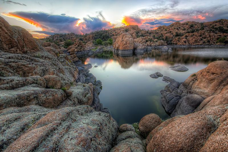 Granite Rock Sunset at Watson Lake in Prescott