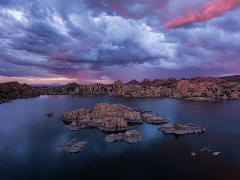 Aerial photo of Watson Lake at sunset - Prescott