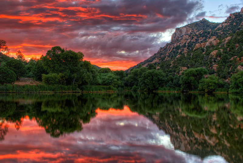 Colorful Sunset at Granite Basin Lake, Prescott