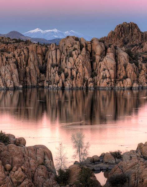 Watson Lake and Mount Humphrey at Sunset in Prescott