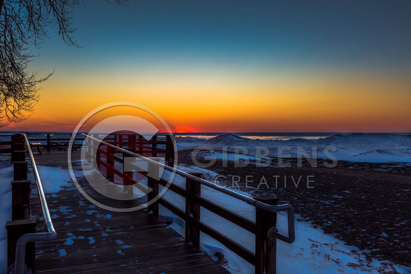 Presque Isle Beach 7 Frozen Sunset