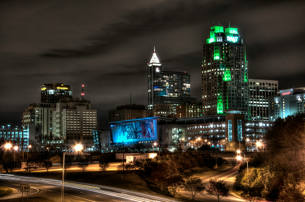 "The Raleigh, NC skyline by Stuart Jones. ""Gotham"" look."