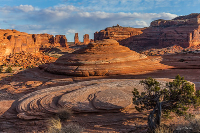 View of Determination Towers from Tusher Canyon.  Northwest of Moab, Utah.