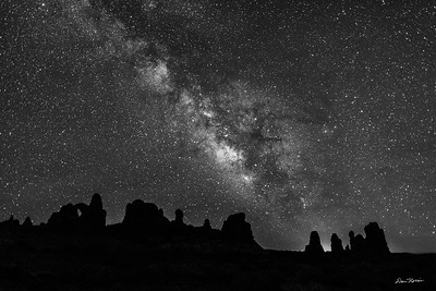 Turret Arche and The Milky Way.  Arches National Park.  Black and White.