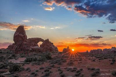 Sunburst Sunset at Turret Arch.  Arches National Park.