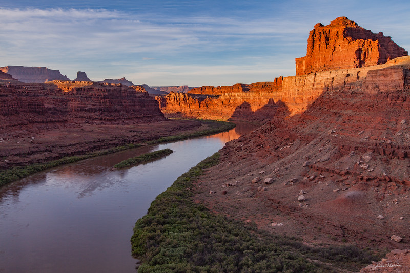 Sunrise reflections on the Colorado River. Bears Ears National Monument.