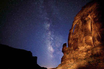 Jug Handle Arch and The Milky Way.  Potash Road near Moab, Utah.