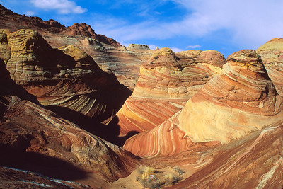 Looking into The Wave from above.  Vermillion Cliffs National Monument, Arizona, Utah.