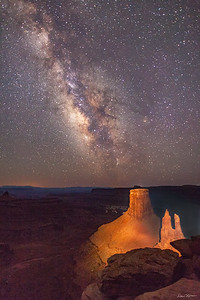 The Milky Way at the end of twilight. The towers were lit with a powerful spotlight during a 20-second exposure.  Marlboro Point northwest of Moab, Utah.