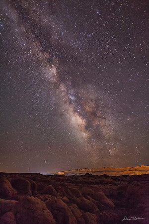 Milky Way over Fins - Sand Flats Recreation Area.  Mummy Cave Trail.  Dark Sky Verticle.