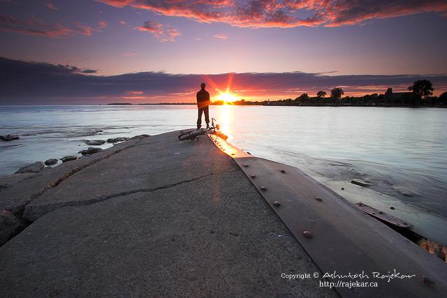 Lone man at sunset