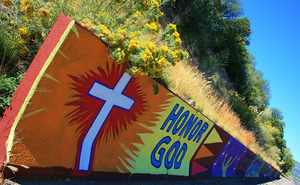 Wall art, along highway 70, Mescalero, NM