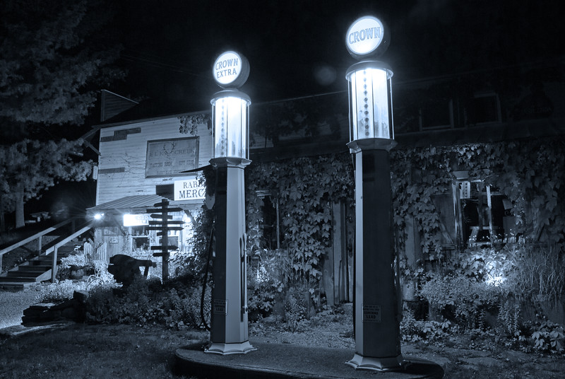 Crown Gas pumps at night in Rabbit Hash, KY