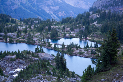 Rampart Lakes at sundown
