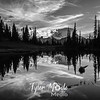 2099  G Mt  Rainier and Tipsoo Lake Sunset Sharp BW